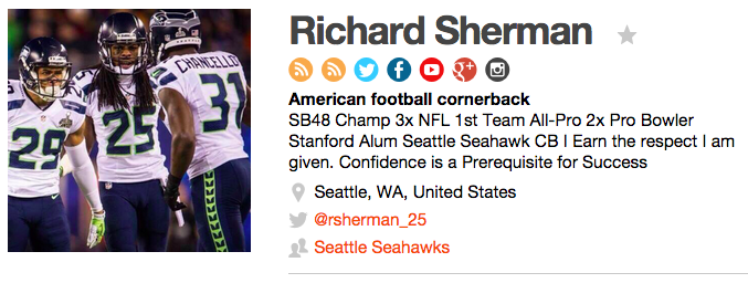 Richard Sherman social presence on Traackr