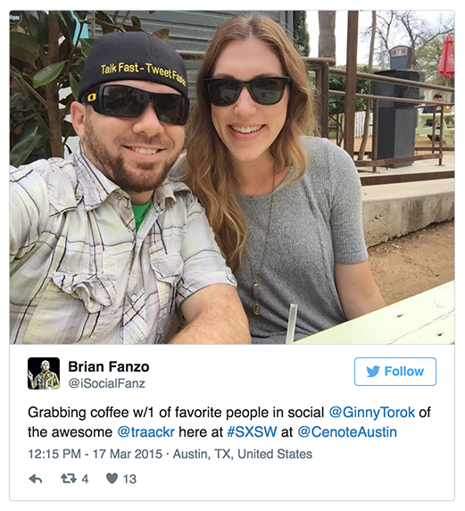 Tweet from Brian Fanzo SXSW 2015