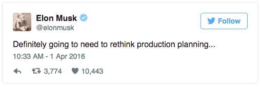 Tweet from Elon Musk