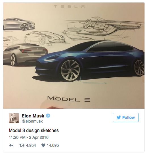 Model 3 design sketches - Elon Musk via Twitter