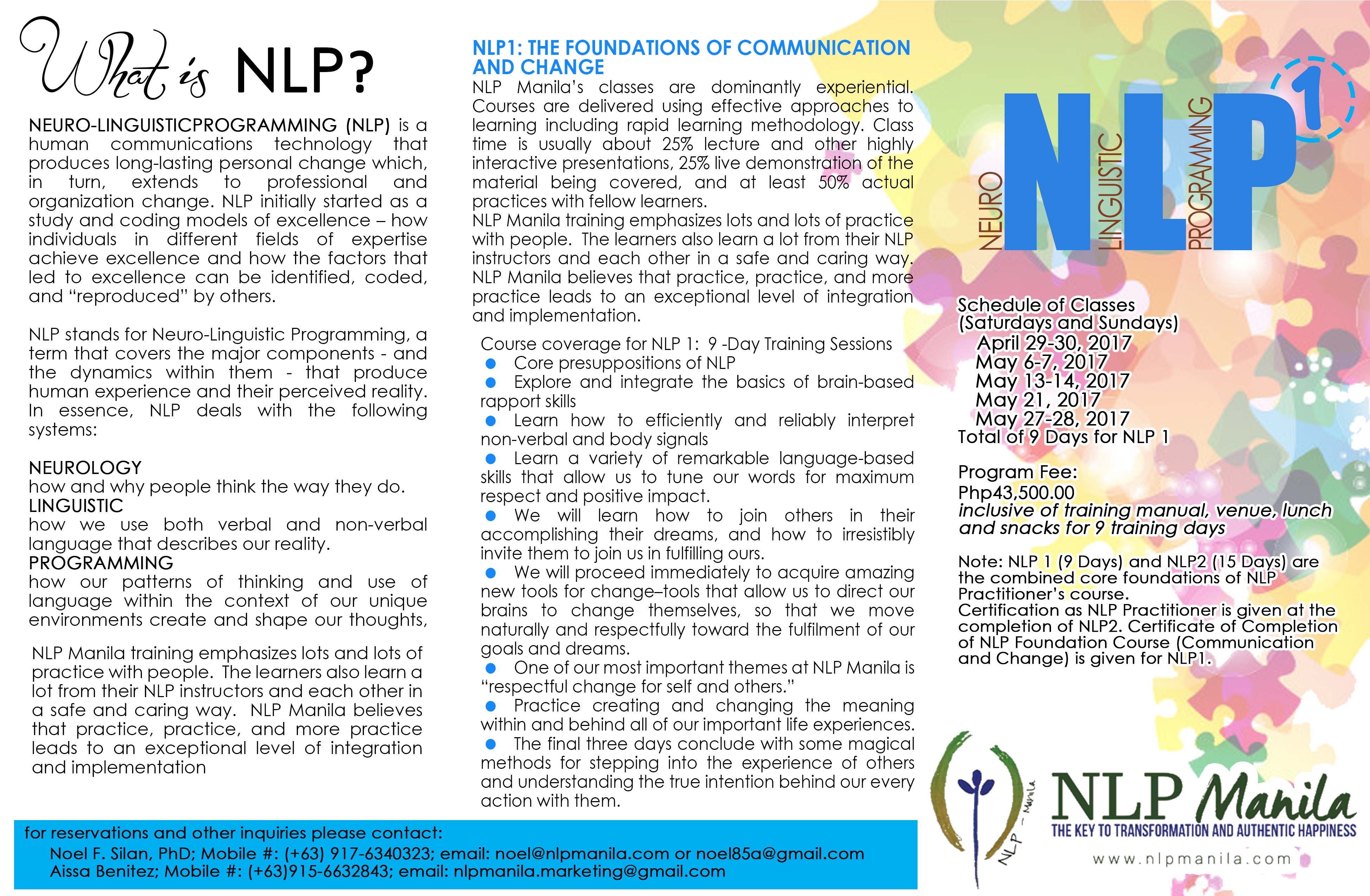 Nlp manila nlp 1 an intensive 9 day nlp certification course the foundation of communication and change xflitez Images