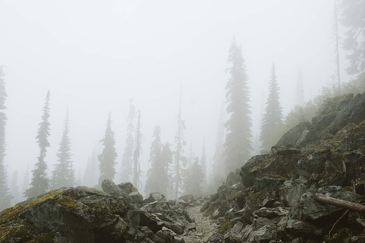 Epic fog and rocky trail in Section J, PCT
