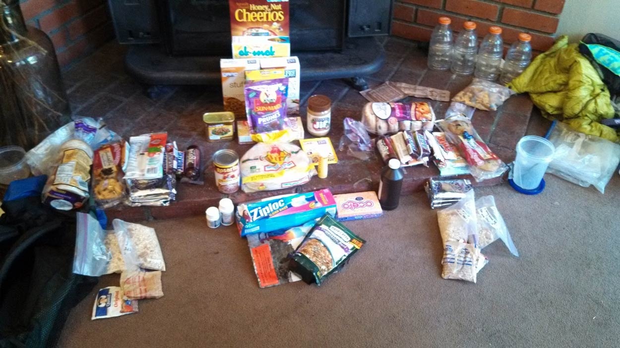 Typical food resupply on the PCT