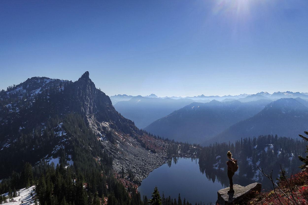 Overlooking Cascade mountain range and Lake Valhalla