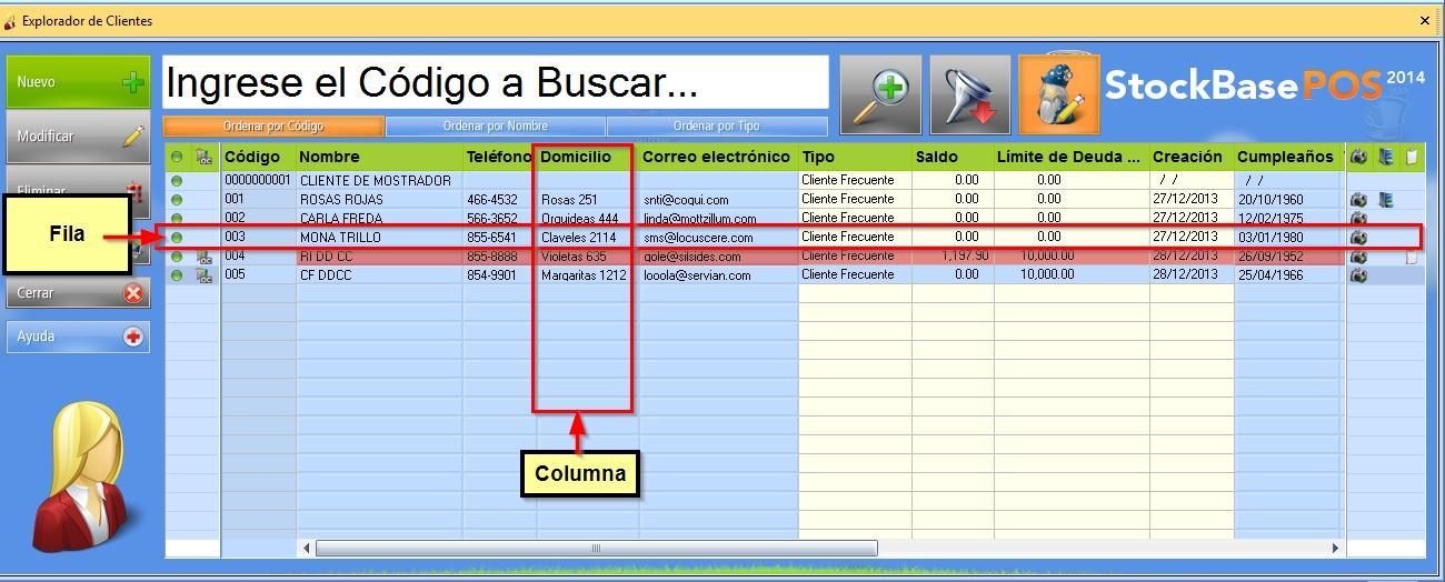 Cómo se organiza la información en el Explorador de Clientes