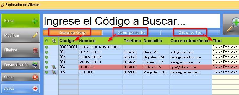 Tres botones permiten ordenar los Clientes en el explorador según Código, Nombre o Tipo