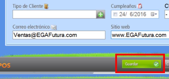 """Presionando el botón """"Guardar"""" los datos quedan grabados en la base de datos de clientes"""
