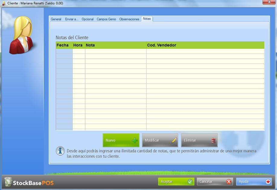 La pestaña Notas está disponible en los registros de clientes existentes en la base de datos