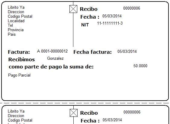 Este recibo es el comprobante de la cancelación parcial de la Deuda originada por la factura cuyo número figura en este recibo