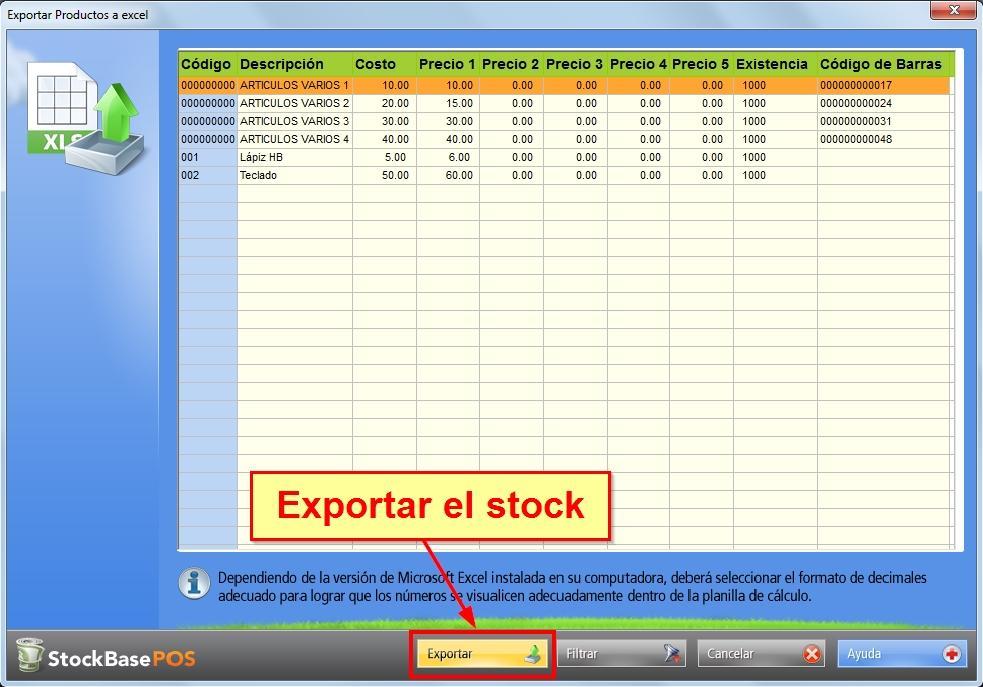 Presionar el botón Exportar
