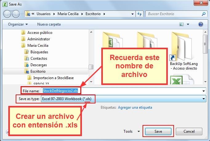 Guarda el archivo creado desde el programa Excel con extensión .xls