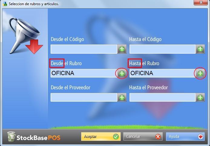 Define el rango de productos a exportar y presiona el botón Aceptar