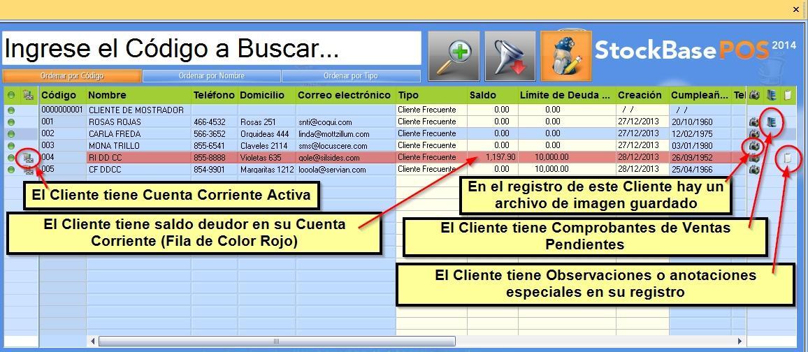 iconos en el explorador indican situaciones particulares del Cliente o pendientes