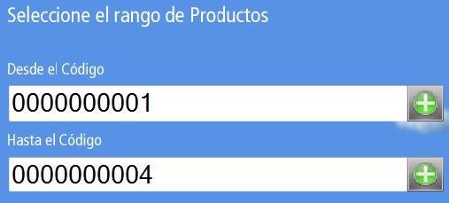 Campos de Selección de Rango de Productos