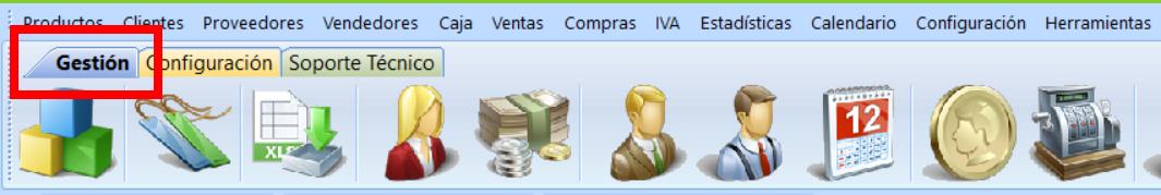 Iconos de la pestaña gestión del programa