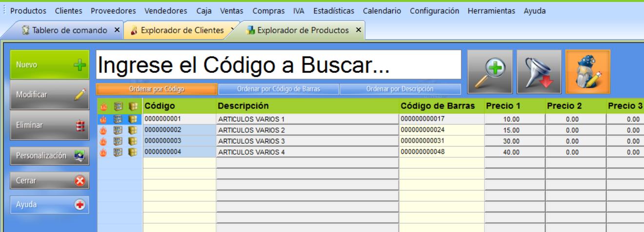 Vista del Explorador de la base de datos con la barra de iconos oculta