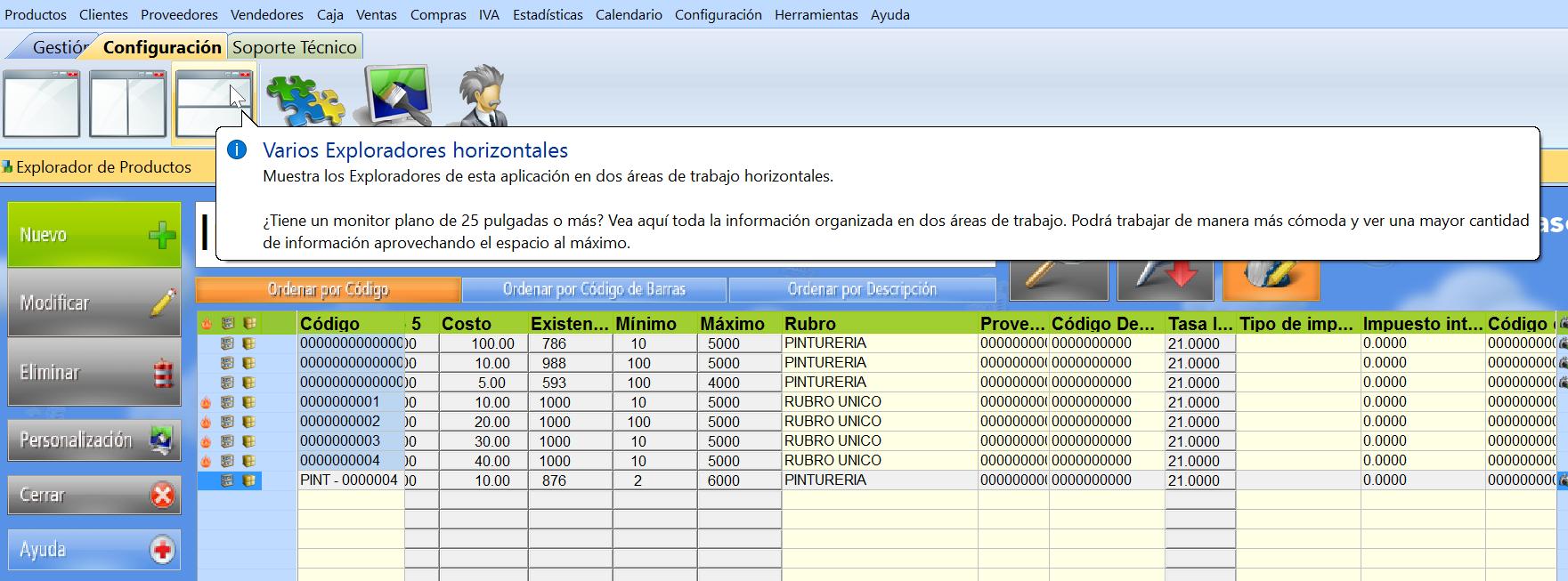 ícono de varios exploradores horizontales en el menu de configuración del software de gestion