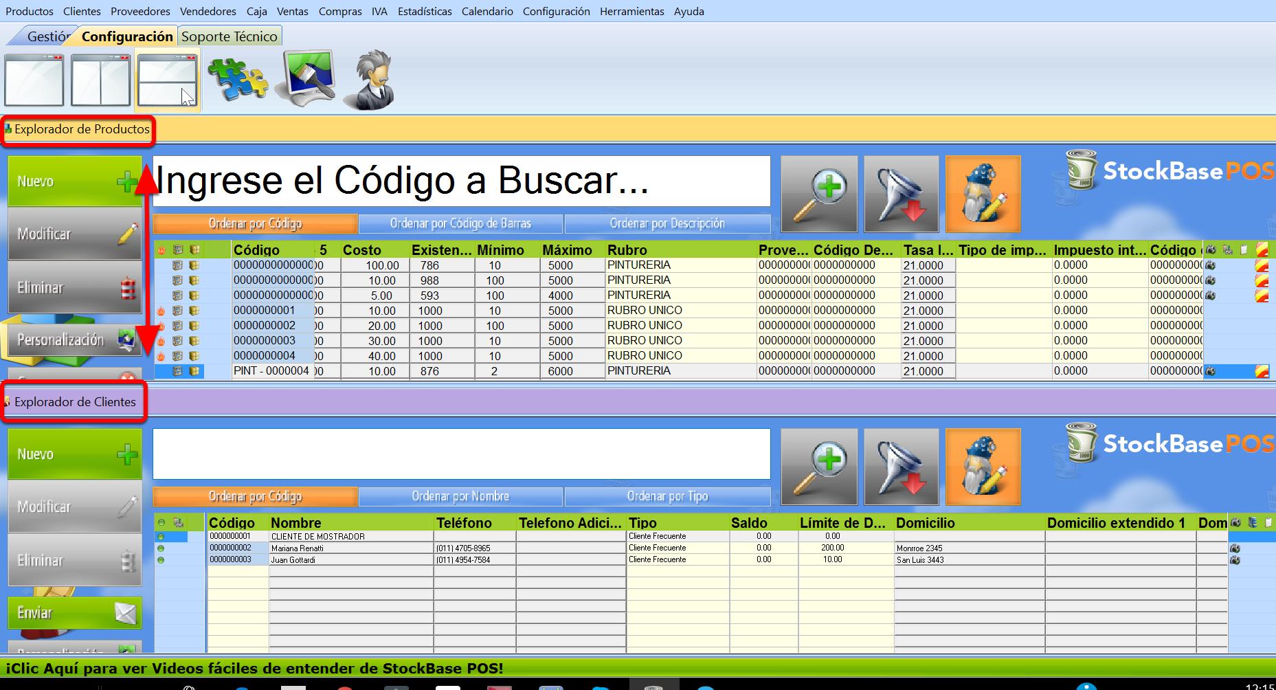 Vista en simultáneo de varios exploradores horizontales en sistema de gestion Stockbase
