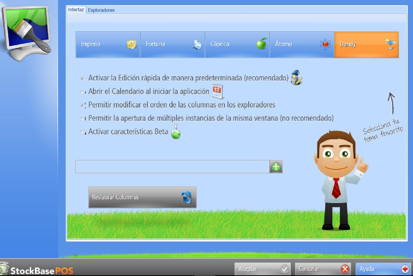 Ventana de configuración de la interfaz del software de facturación