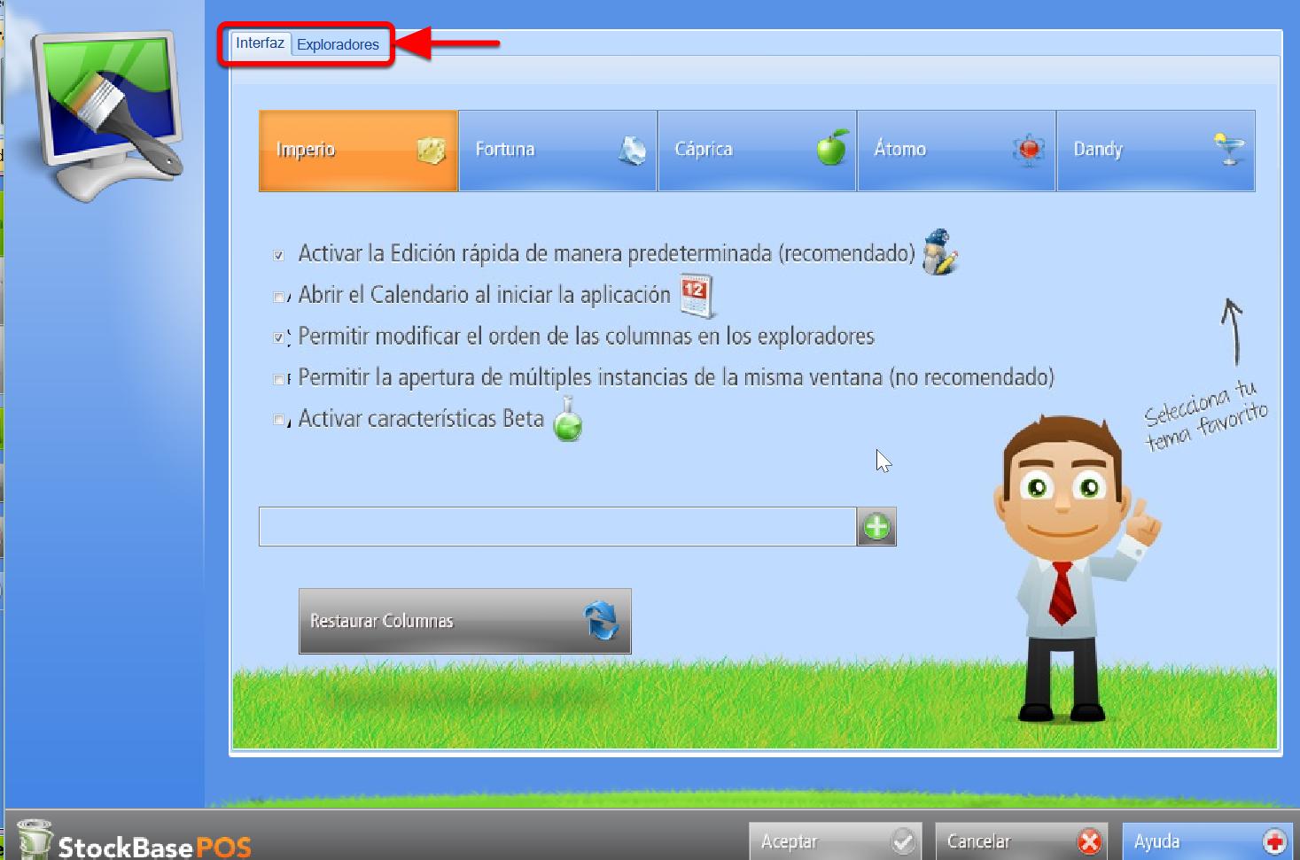 Configuración de la interfaz, opciones de pestaña sistema de gestión