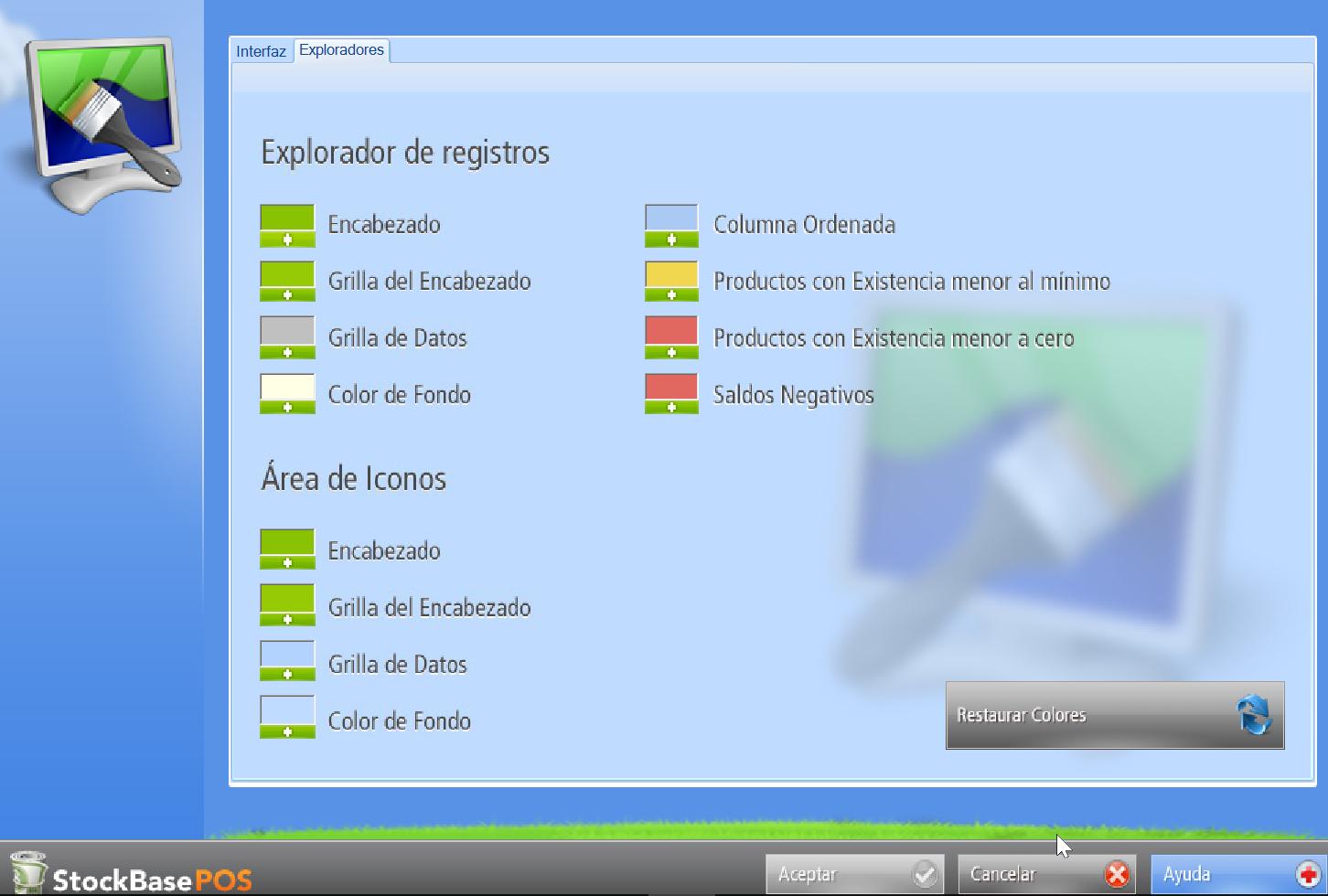 Configuración de la interfaz en la pestaña de exploradores en software de gestión