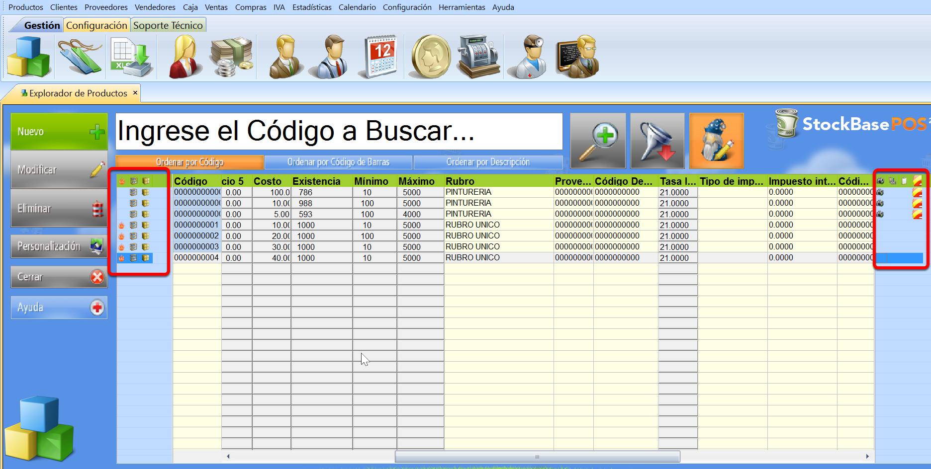 Iconos en los Exploradores de registros permiten lectura o acceso a datos de los registros del software de gestion