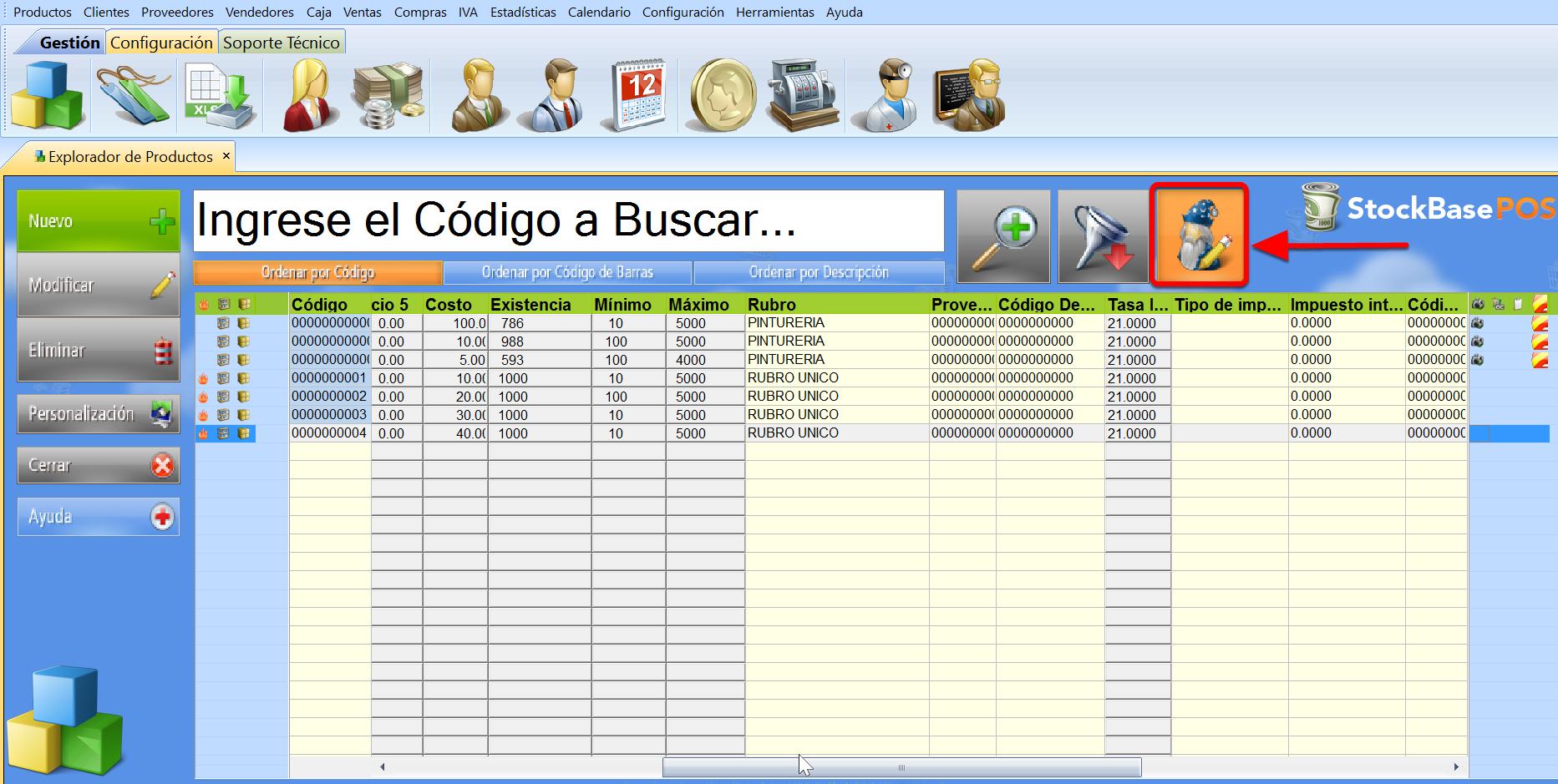 El botón Modificación Rápida permite editar los datos directamente desde el explorador del software de facturacion