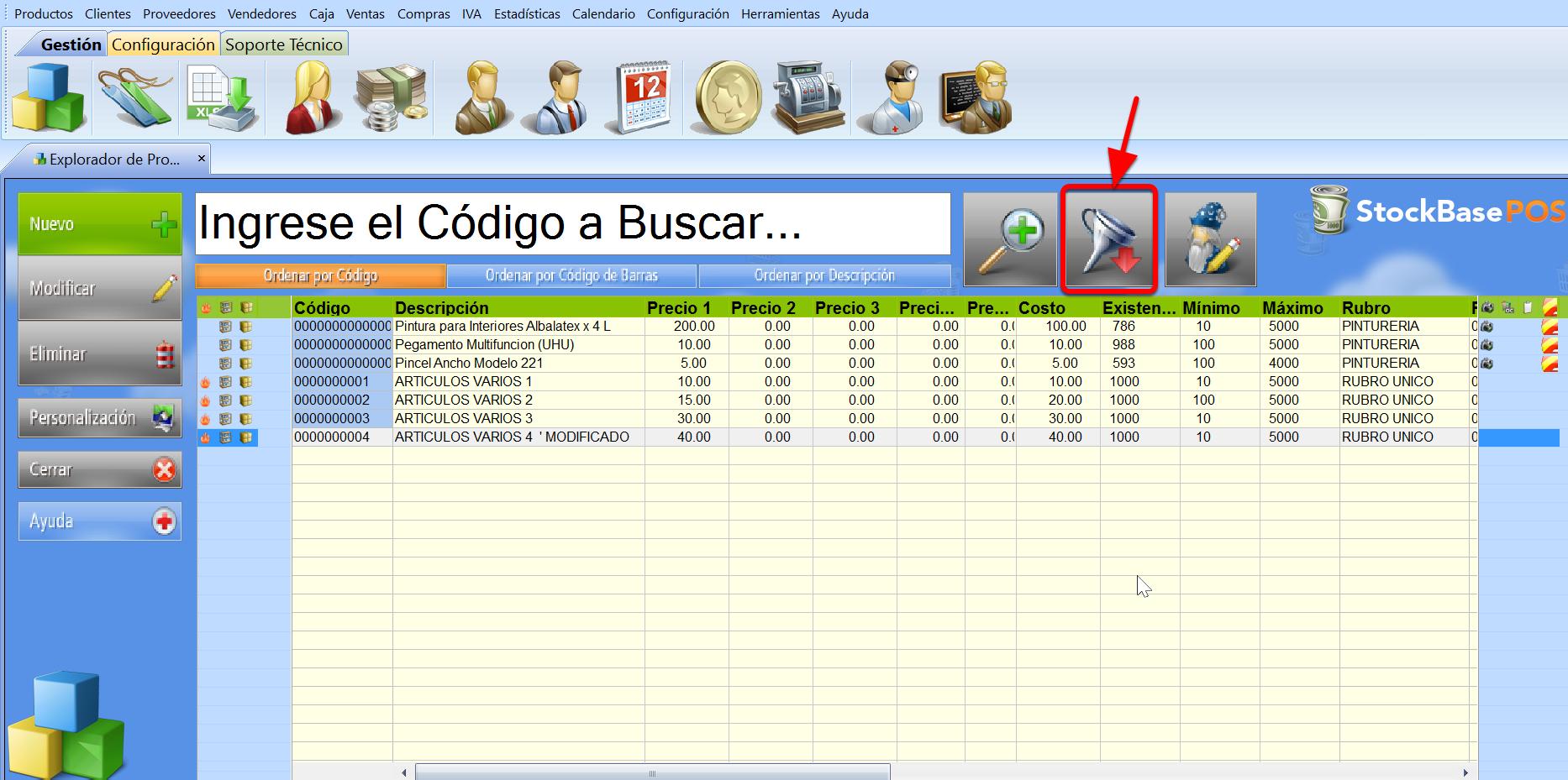 Botón Filtro de Registros permite visualizar de manera personalizada sólo los registros que nos interesan