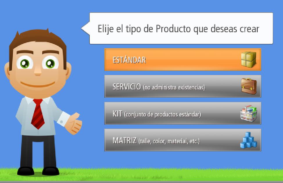 Elegir el Tipo de Producto a crear: Estándar, Servicio, KIT o Matriz