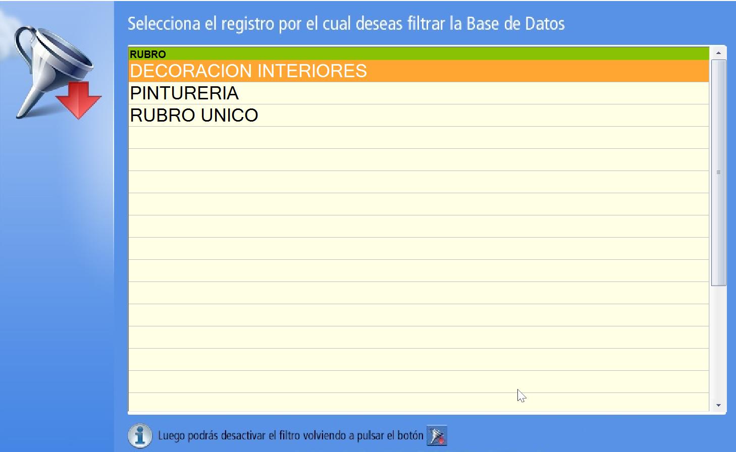 Seleccionar un Rubro según el cual filtrar la base de datos de Productos
