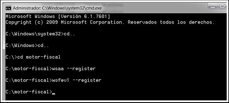 Ahora escribe wsfev1 --register y pulsa enter