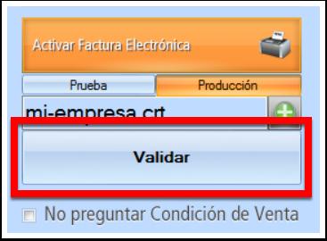 Dale clic a validar