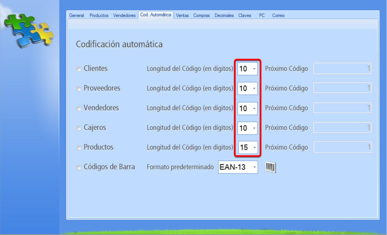 Selección de la longitud del código numérico de nuevo cliente y campo del próximo código a asignar