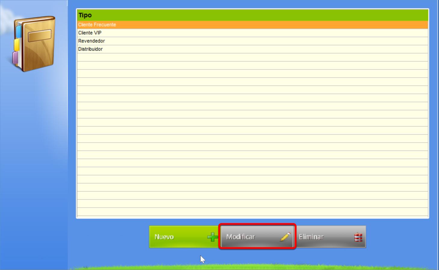 Botón Modificar tipo de Cliente seleccionado