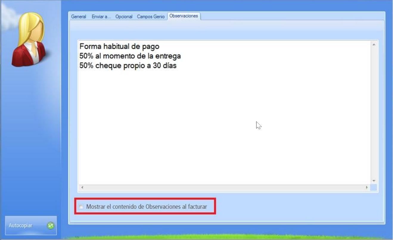 Pestaña Observaciones contiene un área de texto para anotar sobre el cliente