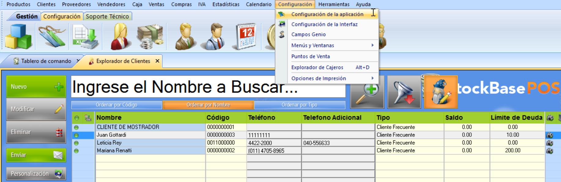 Menu configuración de la aplicación sistema facturacion