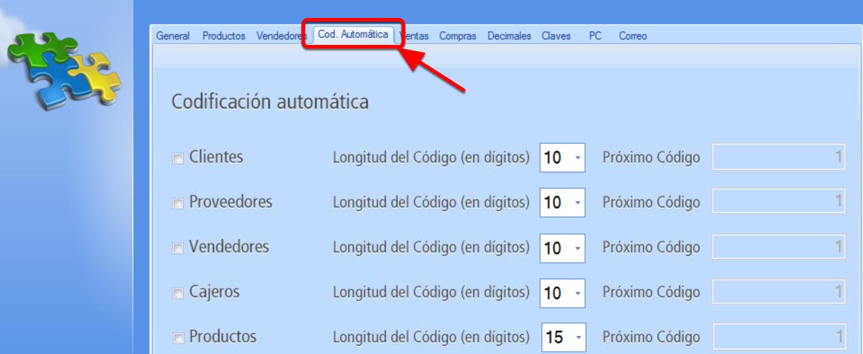 Pestaña codificación automática