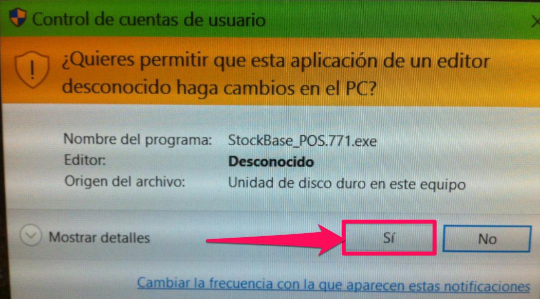 Dale clic a la opción Sí a los derechos de administrador de windows