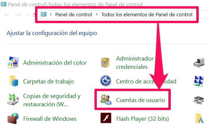 Podrás verificar si estás ejecutando Windows con estos derechos desde dentro del panel de control