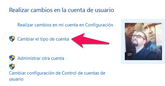 selecciona la opción cambiar tipo de cuenta: