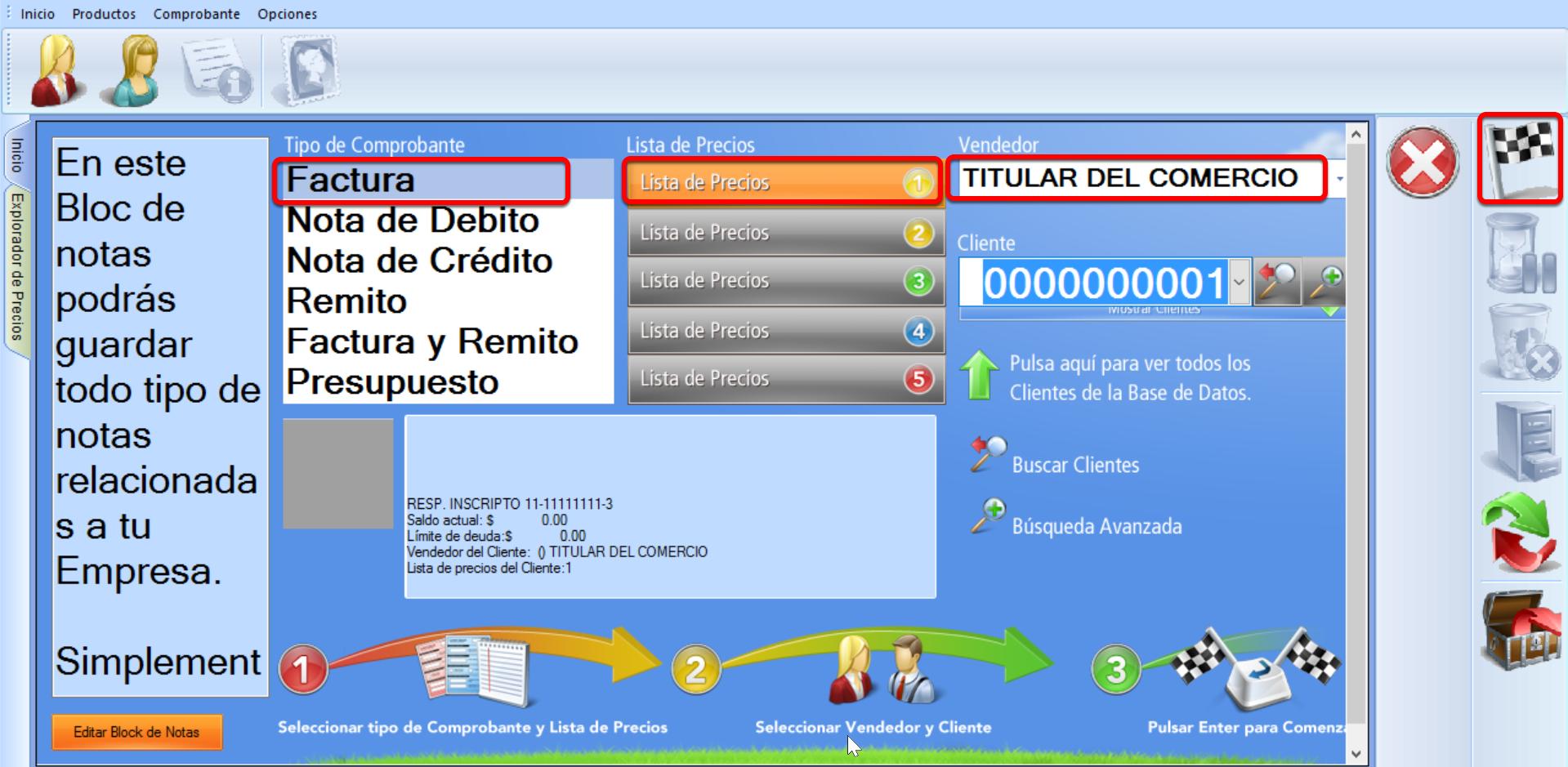 Seleccionar los parámetros para iniciar la Factura a Cuenta Corriente