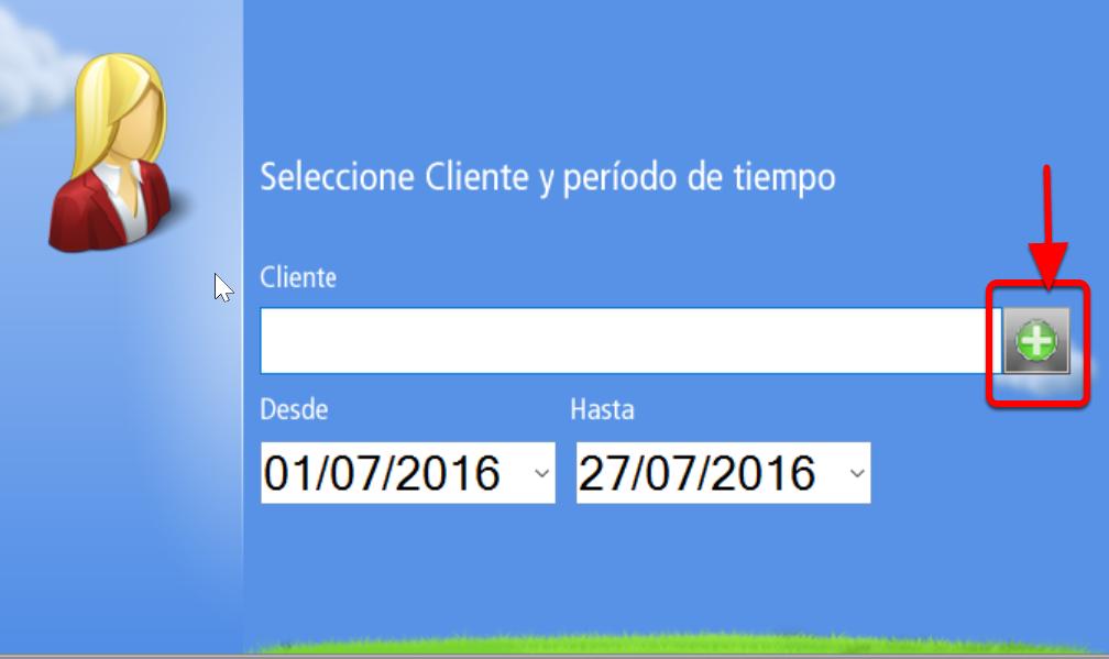 Escribe el código del cliente o abre la ventana de selección de clientes