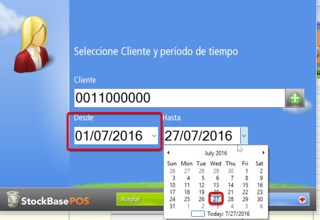 Elige las fechas que limitan la visualización de la cuenta corriente del cliente