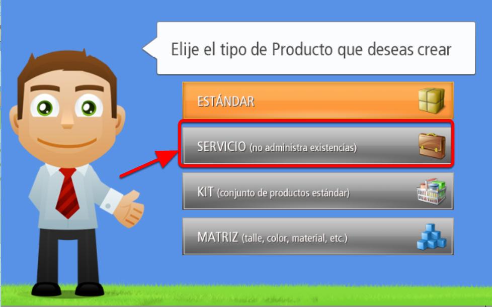 Para crear un Producto Tipo Servicio debes presionar este Botón
