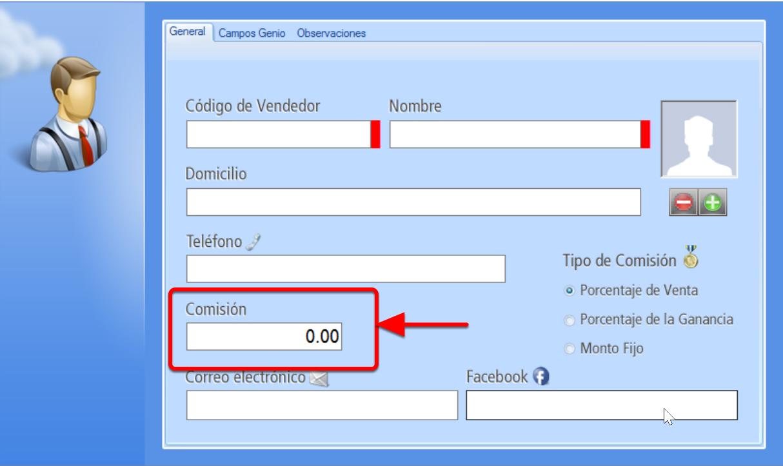 Registro de un Vendedor - Asignación de esquema de comisiones a ese vendedor