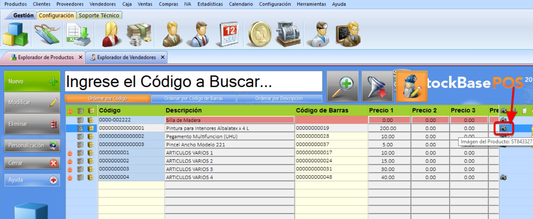 Explorador de Productos - icono de un registro que contiene imagen