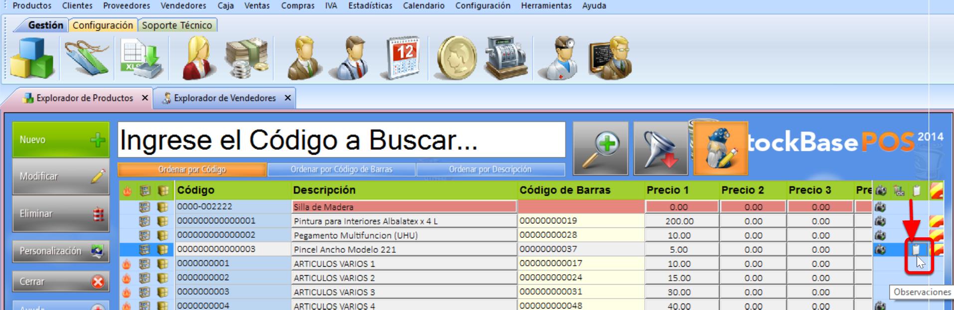 """Explorador de productos muestra un icono en registros con """"Mostrar Observaciones"""" activo"""