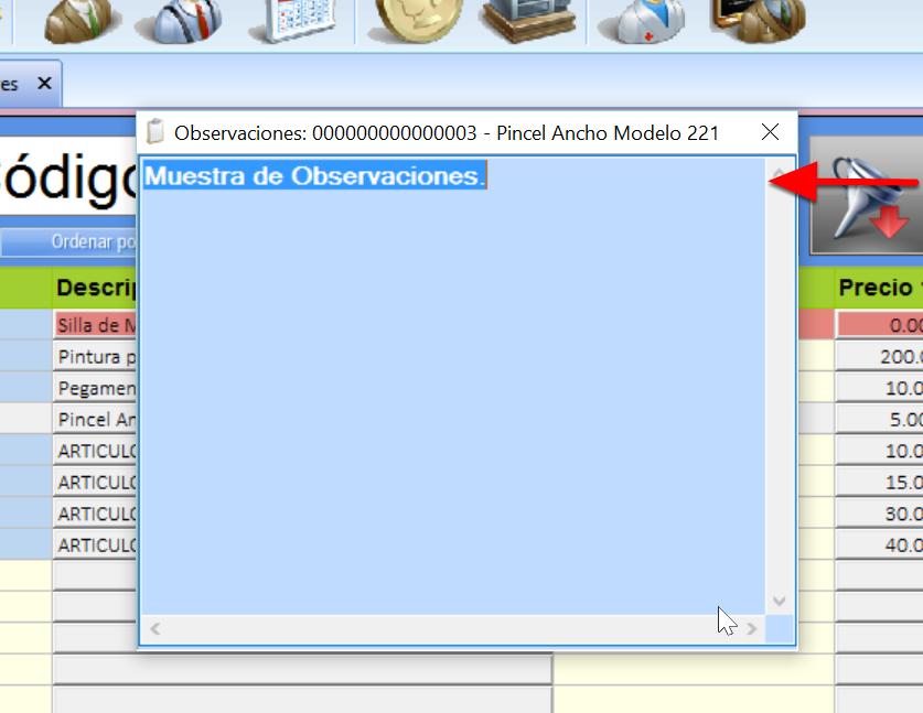 Ventana de Observaciones del Producto se abre al presionar el icono