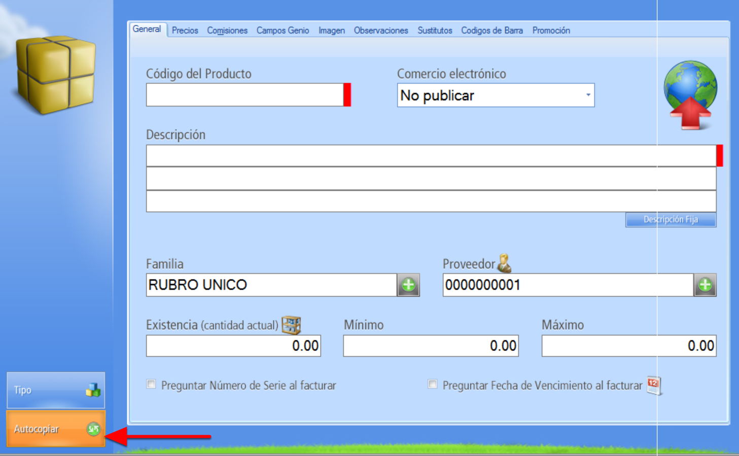 Registro de Nuevo producto – Botón Autocopiar Activado