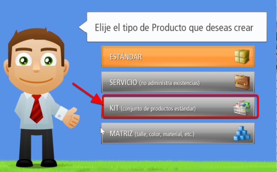 Ventana de Selección de Tipo de Producto - Presionar el Botón KIT